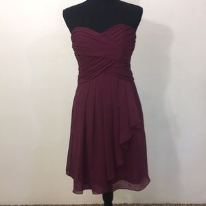Short Crinkle Dress in wine - David's Bridal